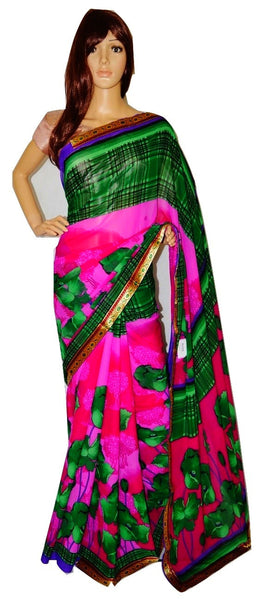 Soft  Georgette Saree With Attached Blouse Piece