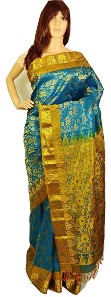 Turquoise Colour Kanchipuram  Silk Saree