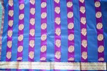 Purple And Blue Stripe Flora Docomo Saree