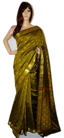 Green & Gold  Colour  Embose Silk Saree