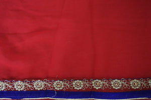 Gorgeous Cherry Red ,Purple & Gold Party Saree