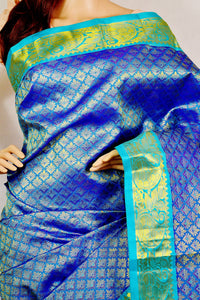 Blue Colour  Kanchipuram Pattu Silk Saree