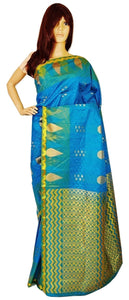 Green Shaded Blue Colour Kanchipuram Silk  Saree