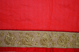 Pleasing Charcoal & Red Colour Party Wear Saree
