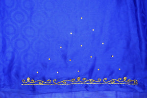 Fushcia & Blue Stone Work  Party Wear Saree