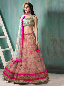 Pink Colour Net  Semi Stitched Lehenga