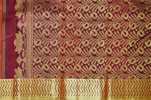 Mustard & Maroon Colour Pure Kanchipuram Pattu Silk Saree