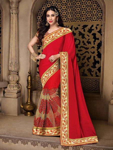 Red & Cream Georgette & Net Saree