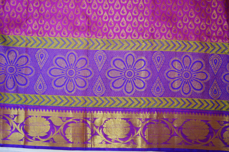Purple & Pink Colour Pure Kanchipuram Pattu Silk Saree