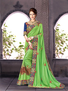Lovely Green & Blue Colour Pure Silk Georgette Saree