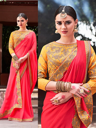 Crimson Colour Chiffon Silk Georgette Saree