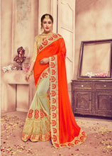 Orange & Natural Colour Silk Saree