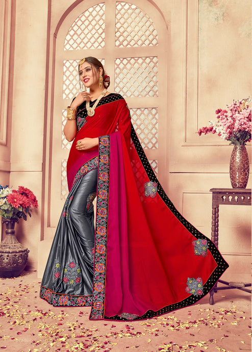Red, Magenta & Grey Silk Saree