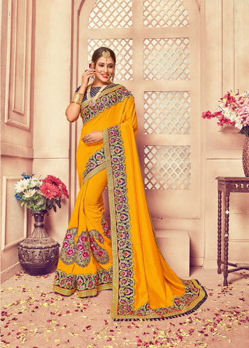Golden Yellow Colour Silk Saree
