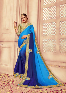 Gorgeous Blue Colour Silk Saree
