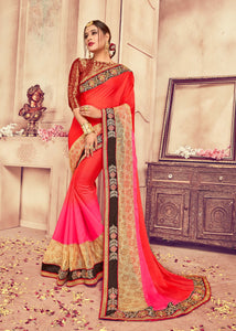 Coral & Pink Colour Silk Saree