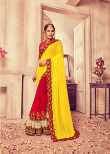 Yellow & Red Georgette Silk Saree