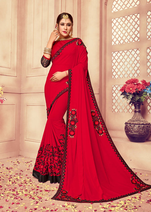 Red & Black Colour Georgette Saree