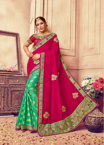 Pink & Green Georgette Silk Saree