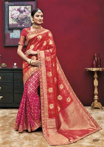 Red Kanchipuram Silk Saree With Hand Work Border