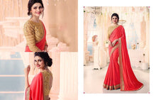 Red & Gold Silk Saree With Heavy Work Blouse