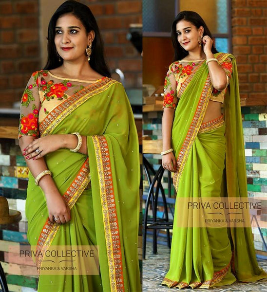 Green colour Georgette Designer Saree