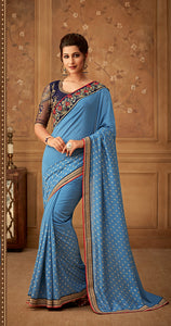 Teal colour Silk Designer Saree