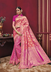 Magenta Kanchipuram Silk Saree With Hand Work Border