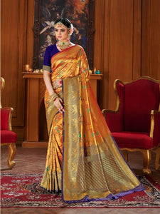 Shiny Golden Orange Colour Banarasi silk Saree