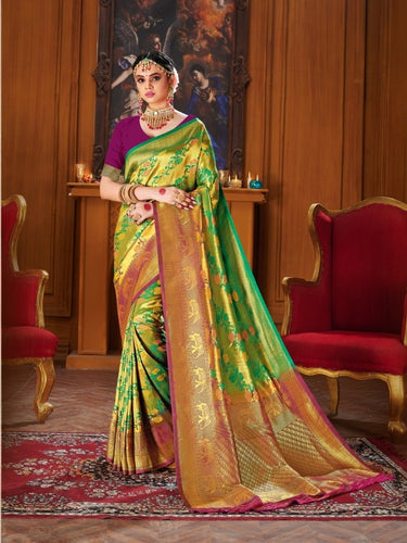 Shiny Golden Green Colour Banarasi silk Saree
