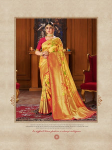 Shiny Gold & Pink Colour Banarasi silk Saree
