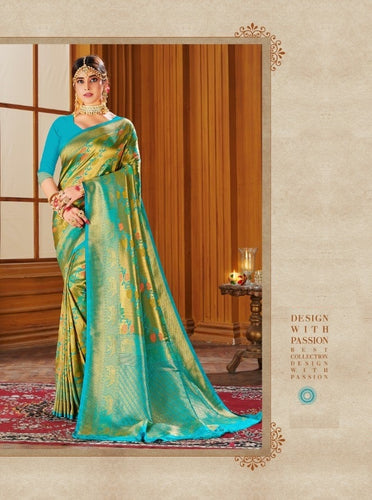 Shiny Golden Teal Colour Banarasi silk Saree