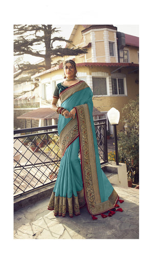 Exquisite Blue Colour Embroidery Border Saree