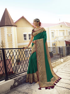 Exquisite Green Colour Embroidery Border Saree