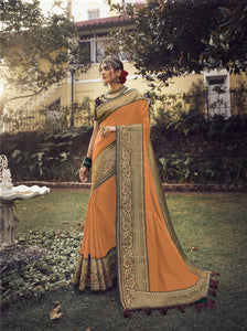 Exquisite Orange Colour Embroidery Border Saree