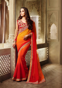 Red & Orange Georgette Saree With Fancy Work Blouse