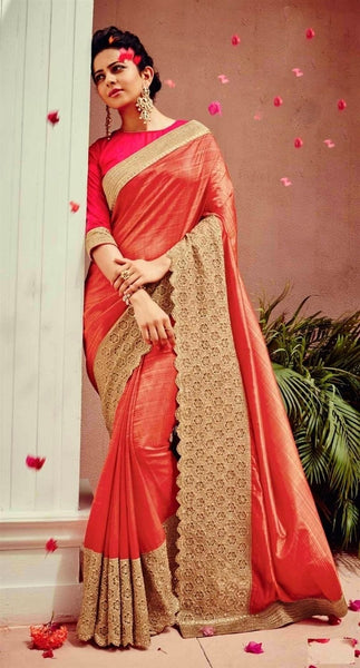 Two Tone Peach & Gold Zoya Silk Designer Saree