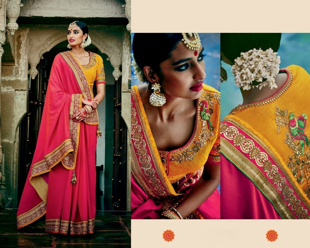 a1bbc08a9f ... Rich Look Red Silk Saree With Grand Work Blouse Piece