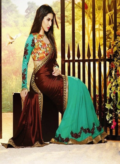 Brown & Green Colour Saree With Designer Blouse Piece