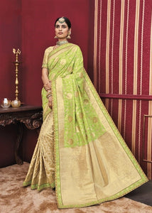 Green Kanchipuram Silk Saree With Hand Work Border