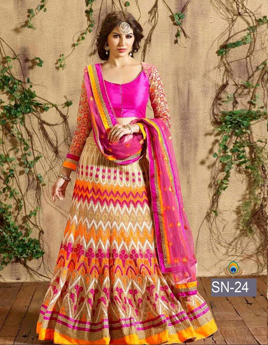 Pink  Colour Lehenga Choli