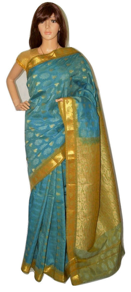 Teal & Gold Colour  Kanchipuram Silk Saree