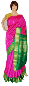 Magenta and Green Art Silk Saree