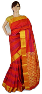 Magenta,Orange & Gold Colour Kanchipuram Silk Saree