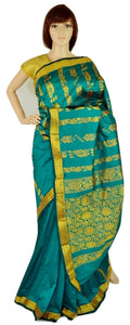 Bright Green & Gold Colour Silk Saree