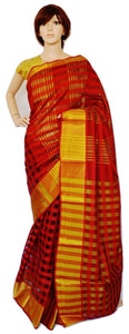 Red & Black Colour With Big Gold Border Cotton Saree