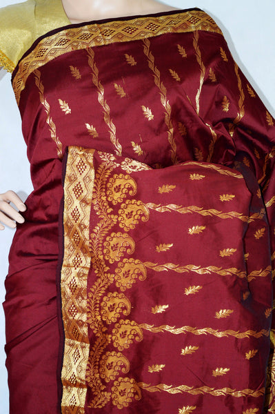 Dark Maroon & Gold Colour Silk Saree