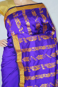 Gorgeous Purple & Gold Colour Silk Saree