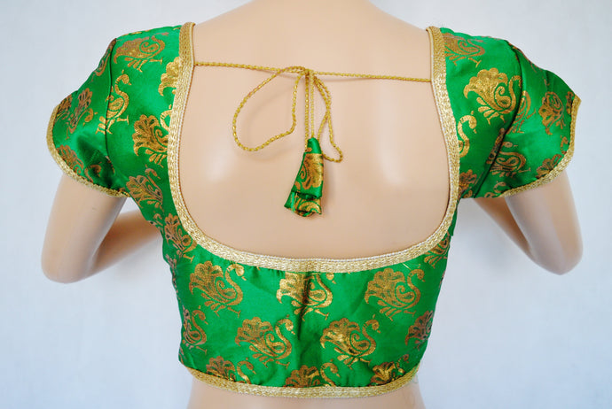 Green Colour Brocade Saree Blouse one size