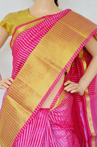 Beautiful Magenta & Gold Colour Cotton Saree